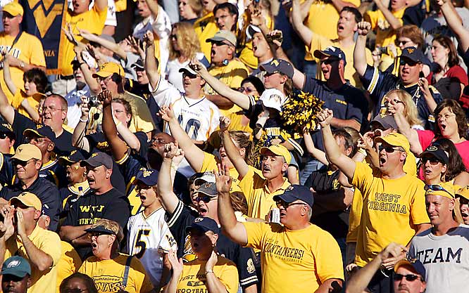 West Virginia fans saluted their team as it left the field after their 42-14 victory over Mississippi State on Saturday.