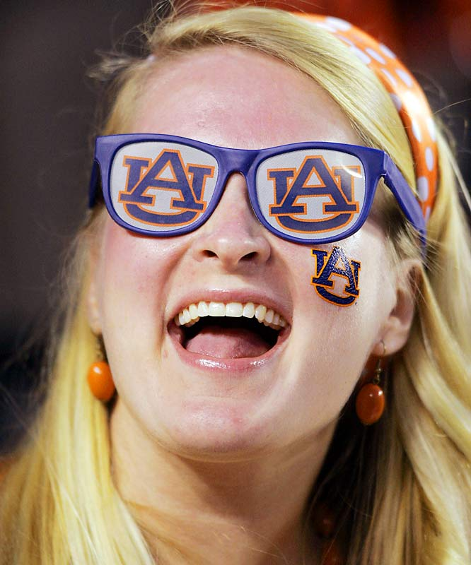 Nothing says fun like sunglasses with your team's name on it. Just ask this Auburn fan.