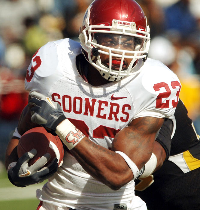 Oklahoma running back Allen Patrick was the workhorse for the Sooners, carrying the ball 36 times for 162 yards in a 26-10 win over Missouri.