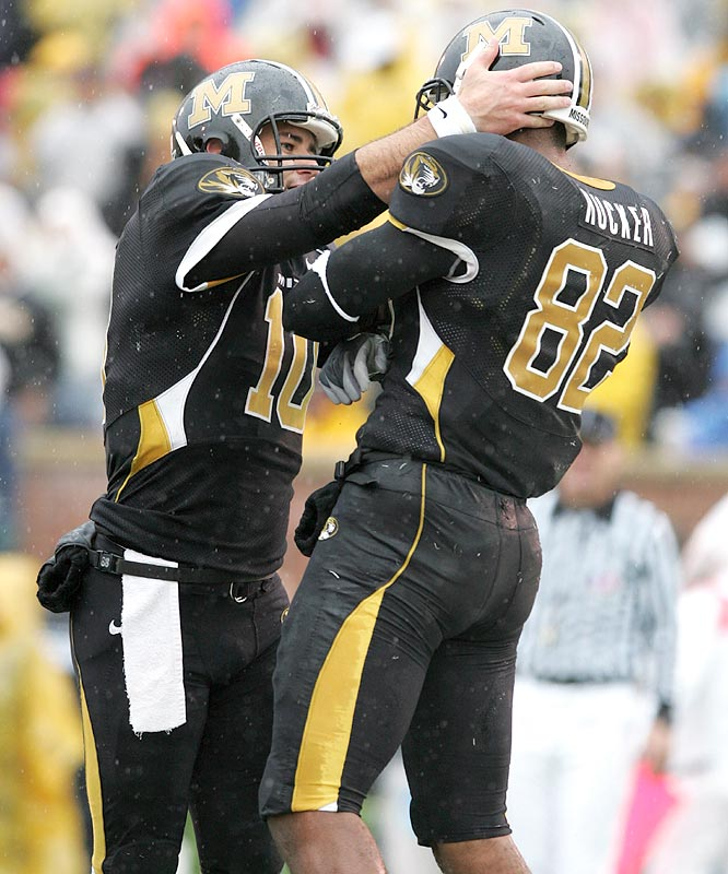 Chase Daniel (left) threw for 262 yards and four touchdowns, including a 14 yarder to tight end Martin Rucker.