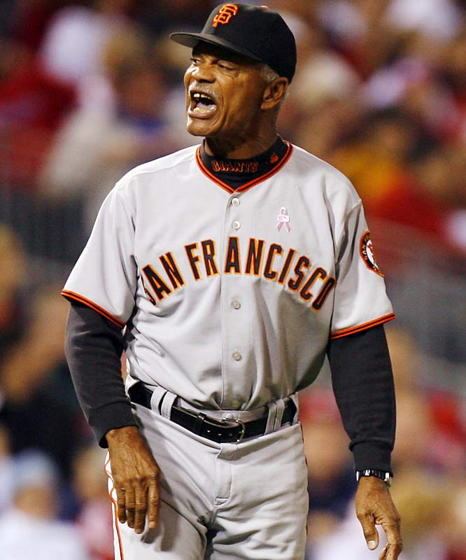 """Larry Krueger, host of a San Francisco Giants radio show on KNBR, referred to the Giants' ''brain-dead Caribbean hitters hacking at slop nightly"""" in August 2005. Krueger later said of manager Felipe Alou (pictured), ''You have a manager in Felipe whose mind has turned to Cream of Wheat.'' The station suspended Krueger for a week before deciding to fire him."""