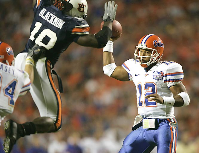 A leaping tackle by Auburn's Tray Blackmon caused Florida's Chris Leak to fumble.