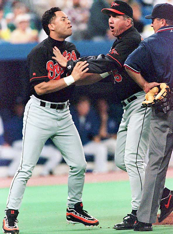 The 10-time Gold Glover is hailed as one of the most complete second basemen ever, but he may be best remembered for a 1997 incident in which he got into a heated argument over a called third strike with umpire John Hirschbeck and spat in Hirschbeck's face. Alomar was suspended for five games and fined $50,000.