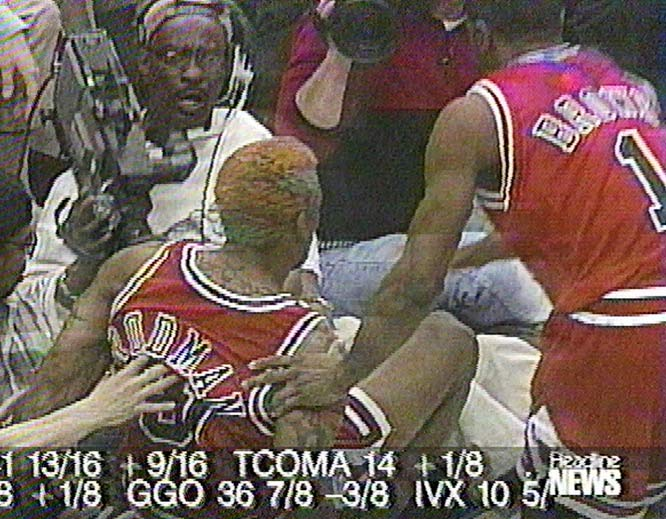 After falling out-of-bounds in a 1997 game, he kicked Eugene Amos in the groin as the cameraman tried to turn his camera on Rodman.