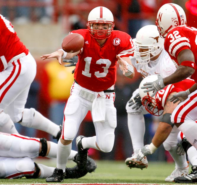 Nebraska's Quarterback Zac Taylor relied on the runninng of Brandon Jackson, who compiled 40 yards on seven carries.