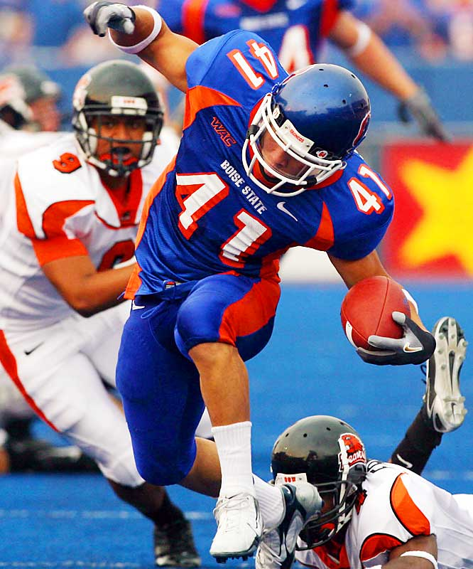 With 18 running touchdowns (first nationally), 1,182 yards rushing (second nationally) and a seven-yards-per-carry average, Johnson owns the most impressive numbers on this list. The motor that makes undefeated Boise State go ran for 375 yards and eight touchdowns ... in his last two games.