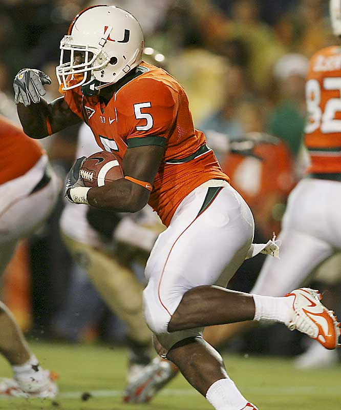 "James has been one of Miami's few highlights this season. A cousin of former Miami star Edgerrin James, ""Baby J"" has ascended to the starting role just over a month into his college career. In his first start last week, James rushed for 148 yards and a touchdown and helped the Hurricanes edge Houston 14-13."