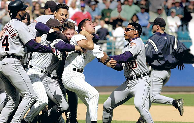 "One brawl wasn't enough for these teams, who fought in the seventh and ninth innings of a 14-6 Chicago victory. Final tally: five hit by pitches and 11 ejections. ""Bottom line is, we won the game and we killed them,"" Chicago pitcher Jim Parque said. ""I hope they have enough guys so we can beat them again."""