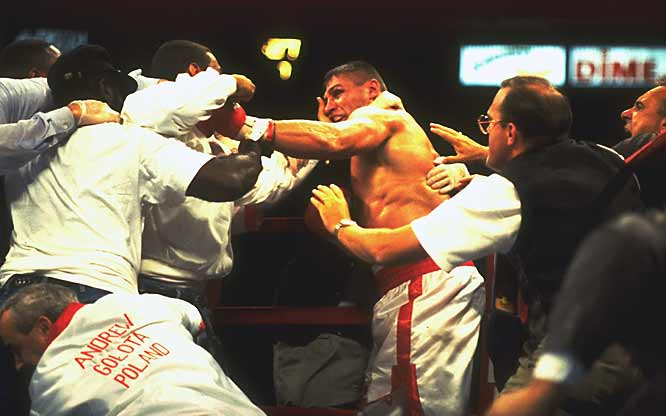 Seconds after Golota was disqualified for hitting Bowe with a fourth low blow, one of Bowe's supporters attacked Golota's corner, setting off a riot inside Madison Square Garden that last nearly five minutes. Trainer Lou Duva was taken out of the arena on a stretcher and the New York police department drew criticism in the days that followed for its slow response in quelling the fighting.