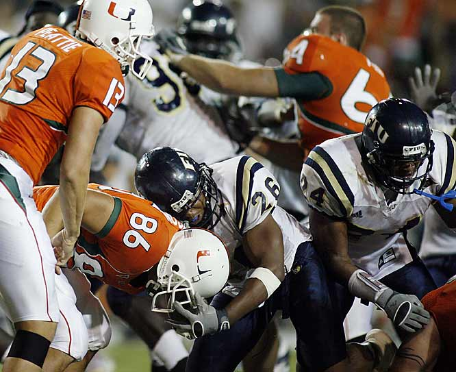 In the first meeting between the two schools whose campuses are nine miles apart, heated words and taunting led to a third-quarter free-for-all that lasted about five minutes and resulted in 13 players getting ejected from the game. Florida International subsequently dismissed two players from the team and suspended 16 others indefinitely. Miami suspended one player indefinitely and 12 others for one game.