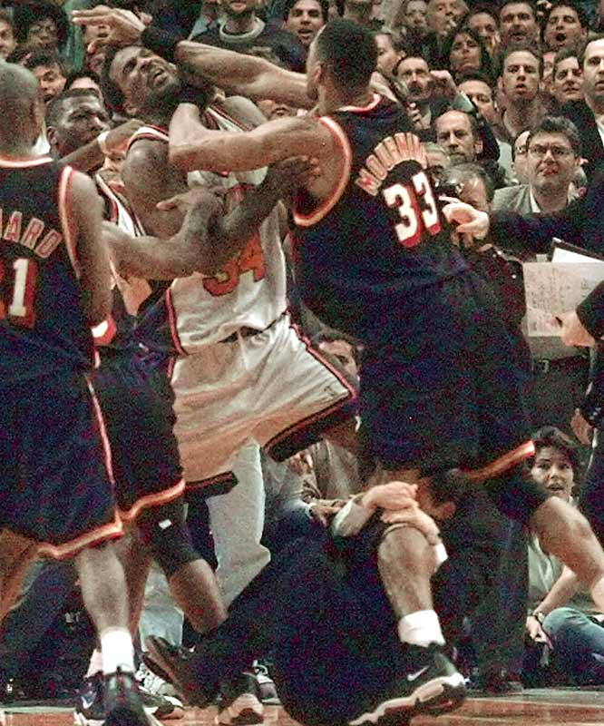 The Knicks-Heat playoff rivalries of the late `90s were heated affairs, perhaps none more memorable than the fight that broke out in Game 4 of a first-round series in which Knicks coach Jeff Van Gundy (below) hung on to the leg of Alonzo Mourning while trying to break up the melee. The NBA suspended Mourning and Larry Johnson for the bout.