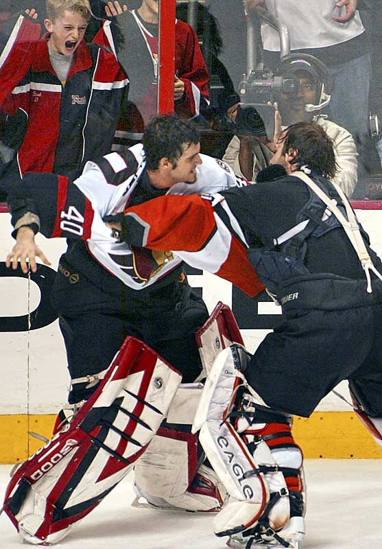 A record 419 penalty minutes were handed out in a fight-filled game that first turned ugly when Donald Brashear and Rob Ray dropped the gloves. At the conclusion of the game, only six players were left on each side.