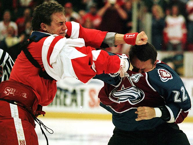 In the fourth meeting of the season between the Western Conference rivals, there were several fights in the first period, but the one that tipped the scales was when Wings enforcer Darren McCarty went after Claude Lemieux. By the end of the night, there were 18 major penalties for fighting and 144 penalty minutes.