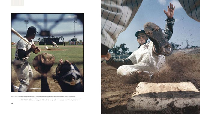 (Left) A special camera captured the ump's view of a fastball during spring training with the White Sox in 1959. (Right) White Sox shortstop Luis Aparicio slid into third in a setup for a Sports Illustrated cover.