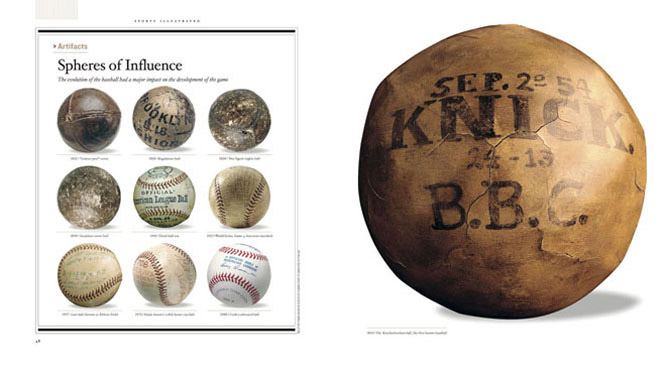 (Left) The evolution of the baseball had a major impact on the development of the game. (Right) The first known baseball, from the Knickerbockers, in 1854.