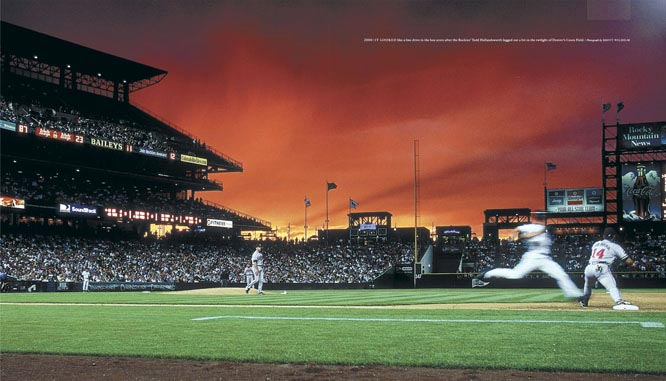 It looked like a line drive in the box score after the Rockies' Todd Hollandsworth legged out a hit in the twilight of Denver's Coors Field.