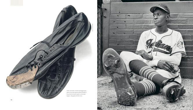 Satchel Paige had logged many miles on his cleats (left) and was already in his 40s by the time he made it to the major leagues.