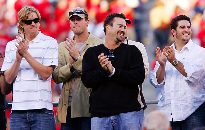 (Left to right) Pitchers Jeff Weaver, Mark Mulder, Jeff Suppan and Jason Marquis applaud during player introductions.