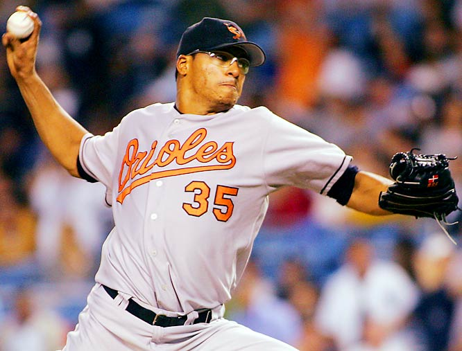 Orioles pitcher Daniel Cabrera got within two outs of a no-hitter against the Yankees on Sept. 28 when Robinson Cano singled to left field in the bottom of the ninth for the Yankees' only hit of the game. The Orioles won 7-1, with the Yankees' only run coming from two Baltimore errors in the seventh.