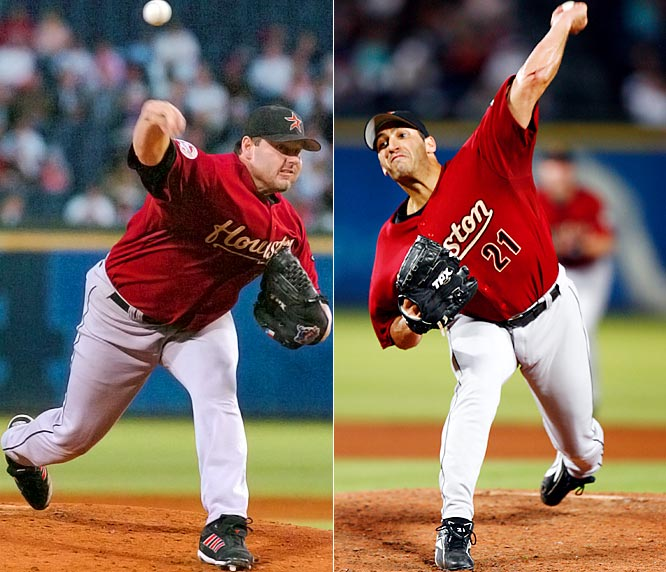 Astros pitchers Roger Clemens (left) and Andy Pettitte finished the season with solid outings, but on top of the Astros' being unable to clinch a playoff berth, both pitchers have been accused of using performance-enhancing drugs by retired pitcher Jason Grimsley, their former teammate with the Yankees.