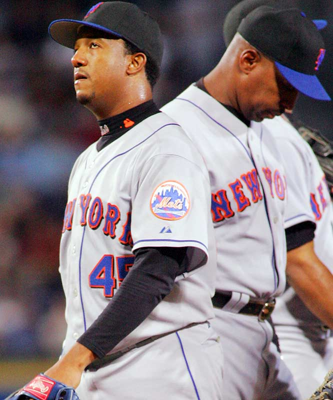 Mets pitcher Pedro Martinez (left) was relieved by manager Willie Randolph in the third inning on Sept. 27 after allowing seven runs to the Braves in a 13-1 loss for the Mets. This would be Pedro's last appearance for the Mets in 2006, and likely for most of 2007, as he will undergo surgery to repair a torn rotator cuff in his right shoulder.