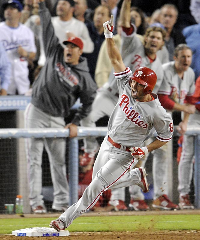 In an exhilarating, back-and-forth ballgame, Shane Victorino knotted up the score at 5-5 with a two-run homer off Cory Wade in the eighth inning. After Carlos Ruiz immediately followed the Victorino blast with a single, Los Angeles brought in closer Jonathan Broxton and the Phillies called on pinch hitter Matt Stairs. Broxton fell behind 3-1 and tried to get a fastball past Stairs, but the 40-year-old veteran drove the ball halfway up the right-field pavilion.