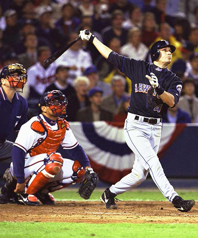 With the bases loaded in the bottom of the 15th inning, Robin Ventura took Kevin McGlinchy deep to force a Game 6. Ventura was mobbed by his teammates and never reached second base, changing his homer to a single and making the final score 4-3 instead of 7-3.