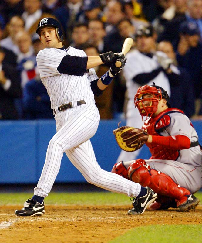 Pedro Martinez couldn't hold leads of 4-0 and 5-2, and Boston couldn't score against Mariano Rivera. Enter Aaron Boone, who set off bedlam in the Bronx with a leadoff home run in the 11th inning off Tim Wakefield to give New York a 6-5 victory and its 39th American League pennant.