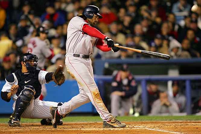 After suffering a heartbreaking loss to the Yankees in the ALCS the year before, the Red Sox fell behind 3-0 in 2004, including a 19-8 drubbing in Game 3. But David Ortiz delivered walk-off-hits in Games 4 and 5, Curt Schilling pitched despite a bloody ankle to win Game 6, and Johnny Damon smacked two home runs, including a grand slam, to lead the Red Sox to a Game 7 rout of their archrivals and their first AL pennant since 1986.
