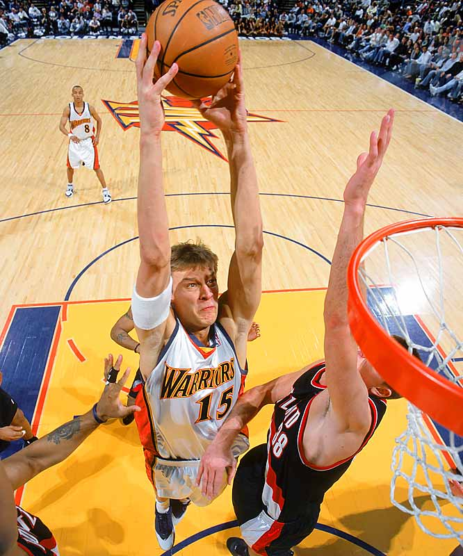 When the Troy Murphy-as-starting-center experiment eventually goes horribly wrong, new Warriors coach Don Nelson could turn to the 6-foot-11 Biedrins for interior help. Though he didn't turn 20 until last season's final month, Biedrins still averaged about four rebounds in 14 minutes a game in 2005-06 while showcasing strong instincts as a left-handed shot-blocker.