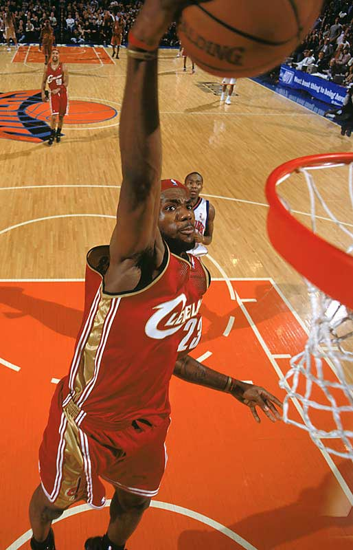 LeBron throws one down against the Knicks at Madison Square Garden.