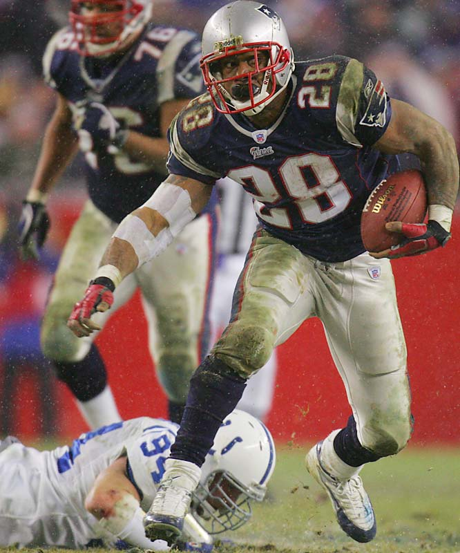 Veteran running back Corey Dillon set a franchise record and career highs with 1,635 rushing yards and 12 touchdowns. Dillon was also a major factor in New England's divisional playoff win against the Colts, rushing for 144 yards in the game.