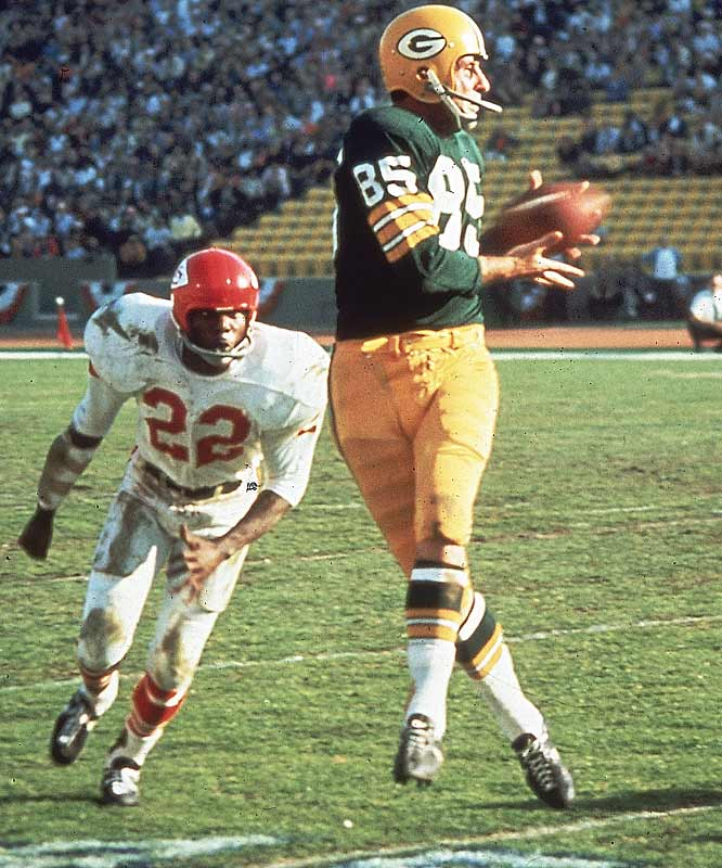 Max McGee had just four receptions in the regular season, but he sparked the Packers in Super Bowl I by catching seven passes for 138 yards and two scores.