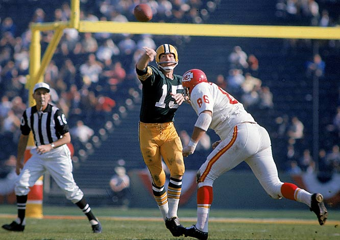 Bart Starr won the first of his two Super Bowl MVP awards by throwing for 250 yards and two touchdowns in the Packers' 35-10 rout of the Chiefs.