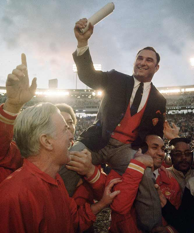 While recording the most wins in AFL history, Hank Stram led the Dallas Texans and Kansas City Chiefs to AFL titles in 1962 and '66 respectively before guiding the Chiefs to the '69 AFL title and a Super Bowl win a few weeks later.