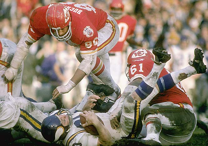 The Chiefs' defense shut down the Vikings' offense in Super Bowl IV, intercepting three passes and recovering two fumbles.