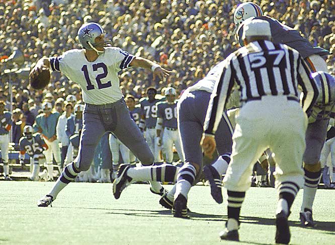 Roger Staubach was chosen the MVP of Super Bowl VI after a flawless, workmanlike performance (12 of 19, 119 yards, 2 TDs, no interceptions) against Miami.