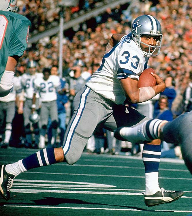 "The Cowboys traded enigmatic running back Duane Thomas early in the season, but the Patriots promptly returned him for refusing to cooperate. Back in Dallas he racked up 793 yards and a league-leading 11 rushing TDs while maintaining a vow of silence with the media and his coaches. His relationship with head coach Tom Landry was particularly strained, with Thomas calling Landry ""a plastic man ... no man at all."""