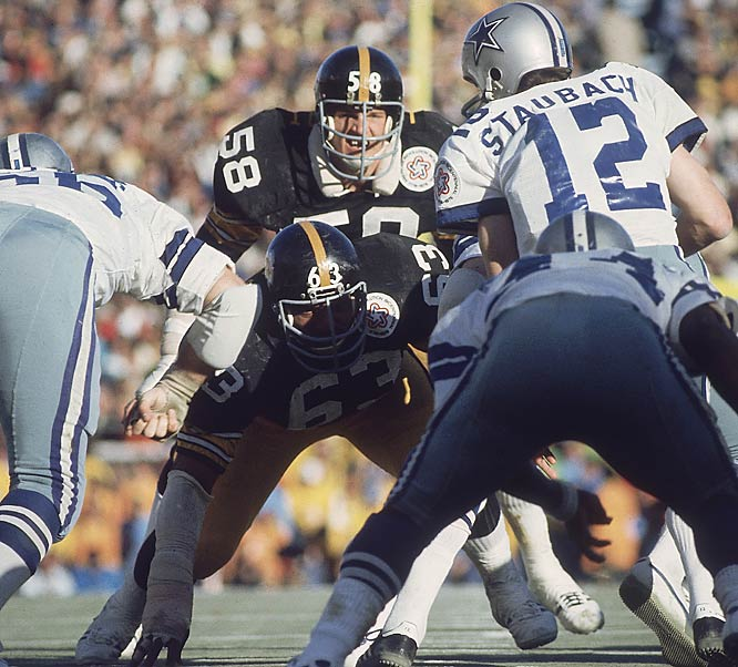 Jack Lambert and Pittsburgh's Steel Curtain defense held their first two playoff opponents (Baltimore and Oakland) to 10 points each and relied on a last-minute interception in the end zone by Glen Edwards to seal their 21-17 Super Bowl X victory over Dallas.