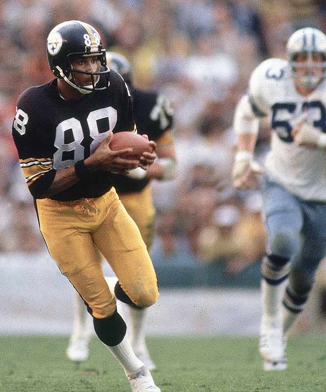 Lynn Swann breaks free for a touchdown. Swann was one of the league top receivers and didn't disappoint in the Super Bowl, catching 7 passes for 124 yards and a touchdown.