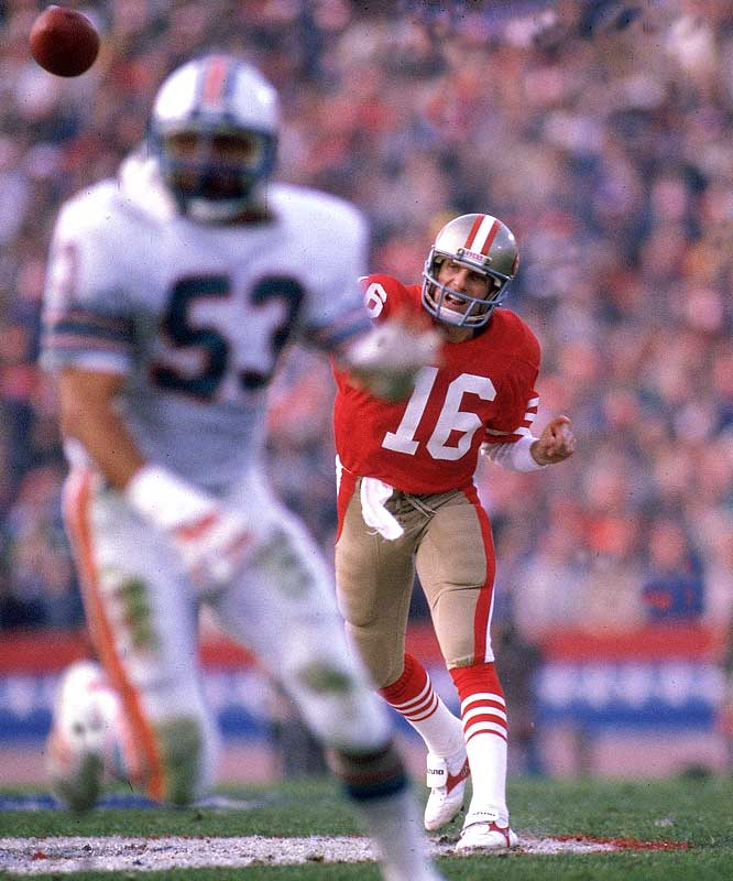 The game was advertised as a shootout, and statistically, it didn't fail. This was the first Super Bowl ever in which both quarterbacks -- Dan Marino and Joe Montana -- passed for over 300 yards.