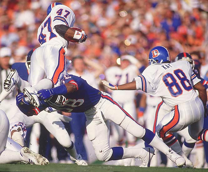 Linebacker Carl Banks and the Giants' smash-mouth defense held the Broncos to 52 yards on the ground in Super Bowl XXI, half of which came from John Elway.
