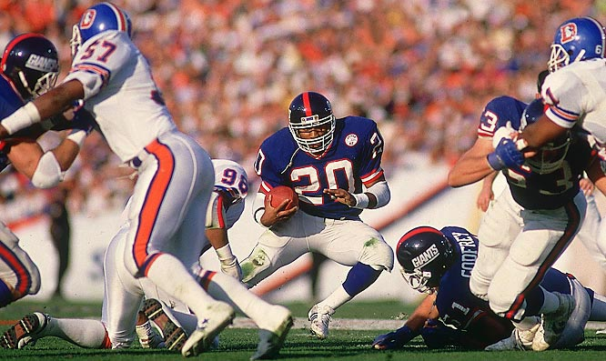 Running back Joe Morris rushed for a career-high 1,516 yards during the season and contributed a touchdown to the Giants' Super Bowl victory.