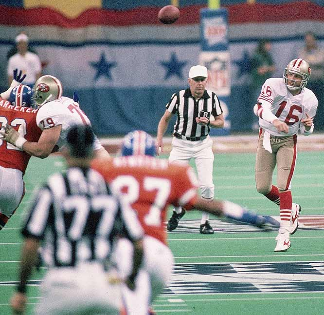 Joe Montana became the first player ever to win Super Bowl MVP honors for a third time, setting a record at the time with five touchdown passes in the most lopsided victory in Super Bowl history, 55-10 over the Broncos.
