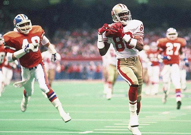 Jerry Rice finished Super Bowl XXIV against the Broncos with seven catches for 148 yards and a Super Bowl-record three touchdown receptions.