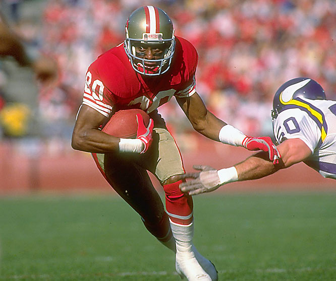 Considered by most to be the best receiver ever to play the game, Jerry Rice led the NFL with 1,483 receiving yards and 17 touchdowns, though not a personal best.