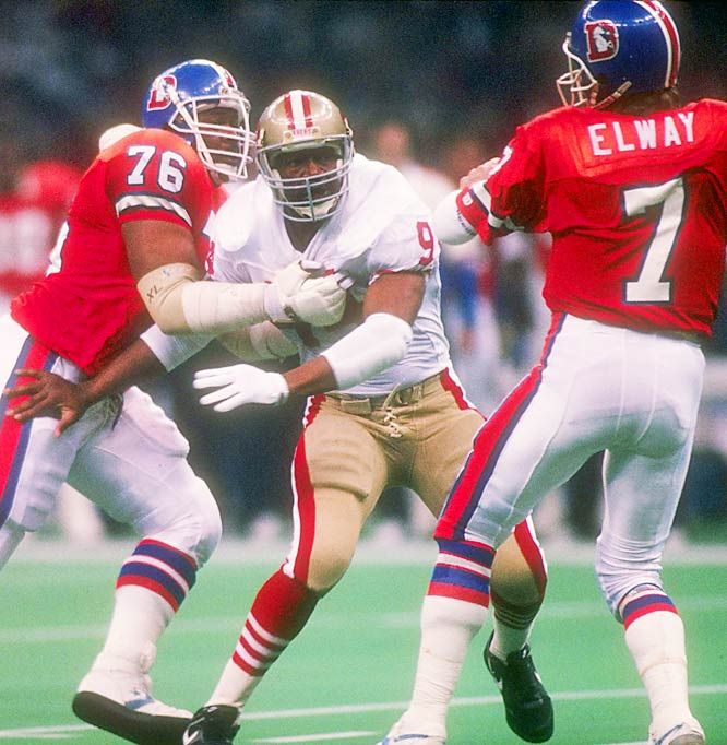 Linebacker Charles Haley and the Niners' defense held John Elway and the Broncos to just 10 points in Super Bowl XXIV.