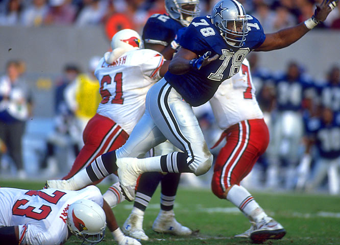 Defensive tackle Leon Lett was a solid performer who will forever be known for his premature TD celebration late in the Super Bowl. While returning a fumble, Lett slowed down and waved his arms, only to have the ball knocked out of his hand by Buffalo's charging Don Beebe.