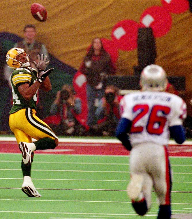 "Andre ""Bad Moon"" Rison got the Packers off to a good start in Super Bowl XXXI, catching a 54-yard touchdown pass from Brett Favre on Green Bay's second offensive play from scrimmage."