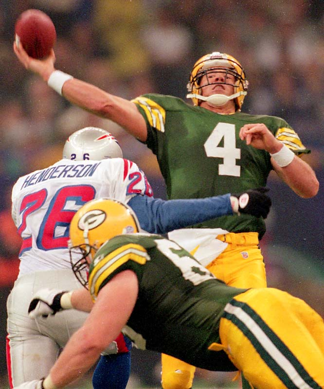Brett Favre won his second consecutive league MVP award after throwing for 3,899 yards and 39 touchdowns during the regular season. He capped off the year by throwing for two touchdowns and running for another score as the Packers won their first league title since Super Bowl II.
